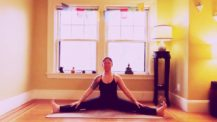 Woman in seated straddle (yoga pose)