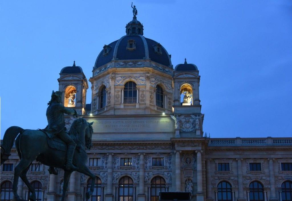 The Hofburg in Vienna lightly illuminated at night