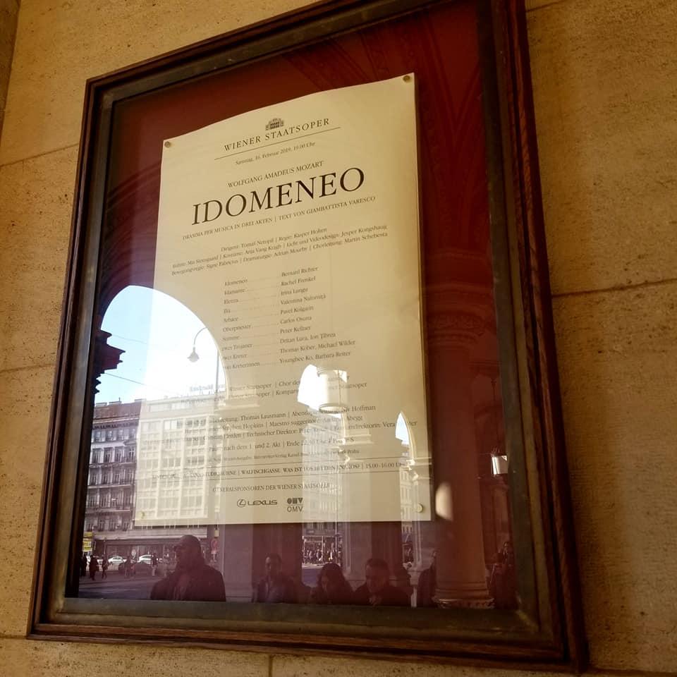 Idomeneo Opera sign outside the Vienna State Operahouse