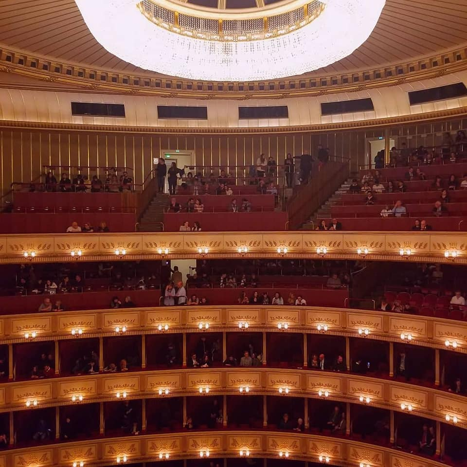 Red velvet circular seating at the Wien Staatsoper