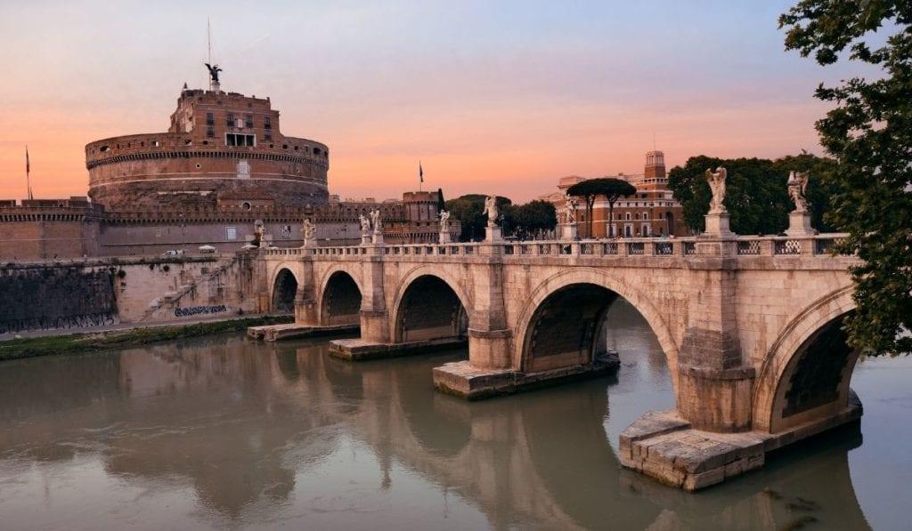 Bridge leading to Castel Sant Angelo in Rome, Italy.