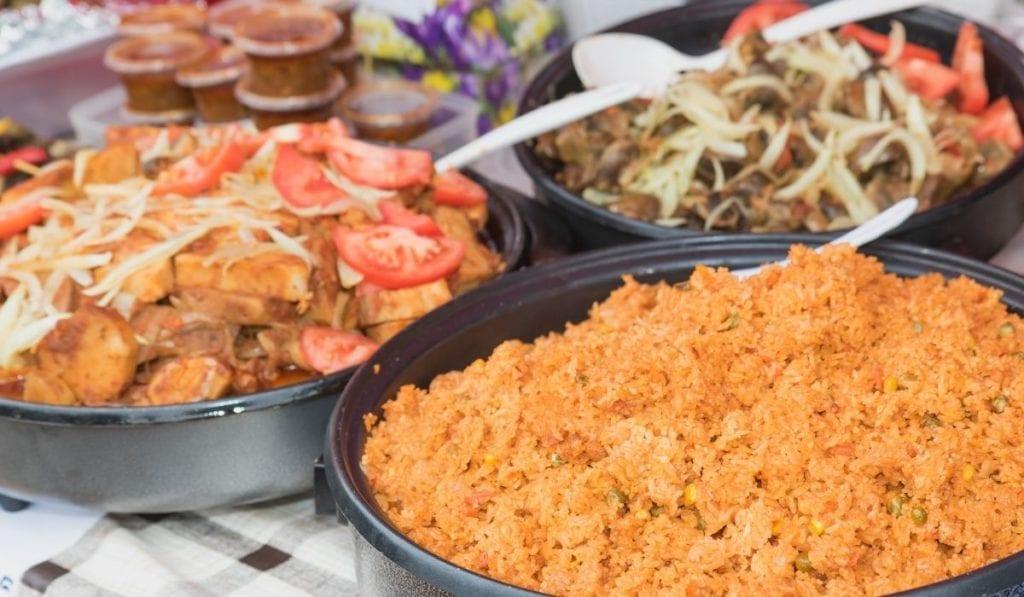 Mozambique dishes in a local restaurant in Porto, Portugal