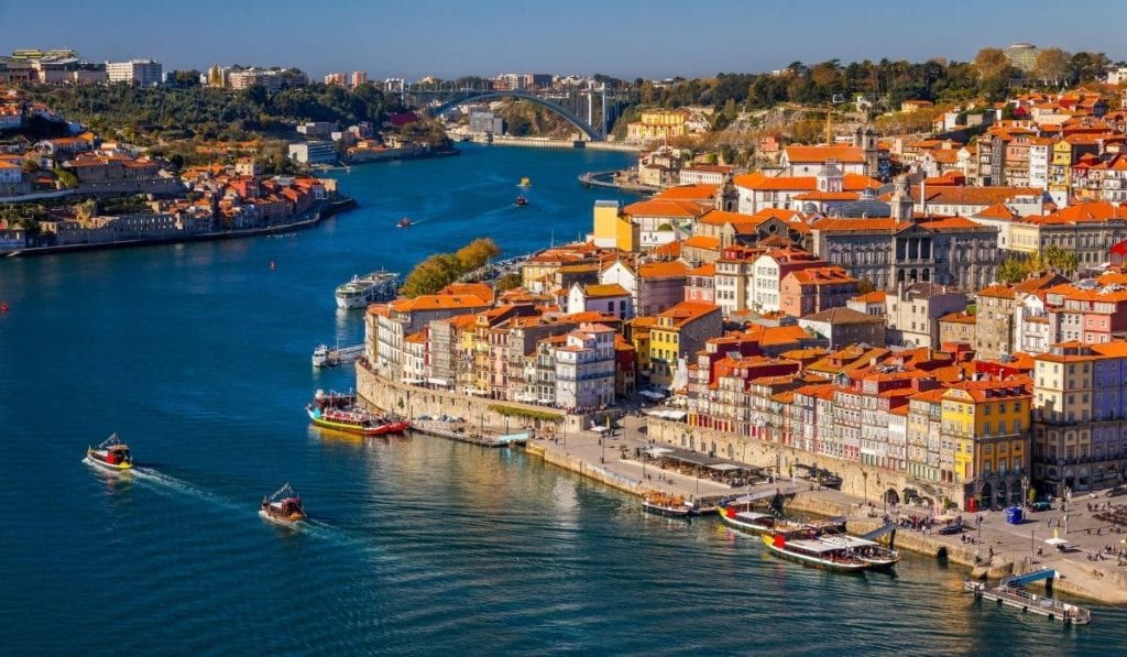 Ribiera district in Porto, Portugal, seen from an aerial perspective.