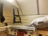 Luggage storage area above the sleeper compartment on the overnight train from Rome to Vienna