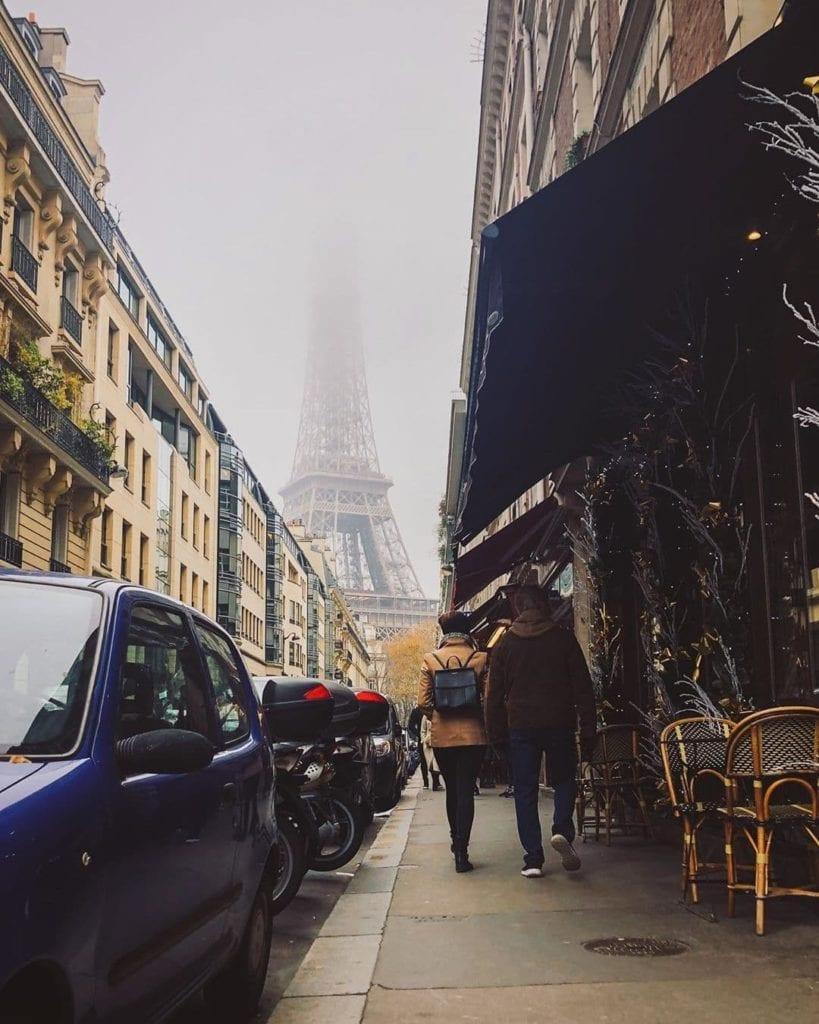View down Rue de Montessuy of Eiffel Tower in the fog