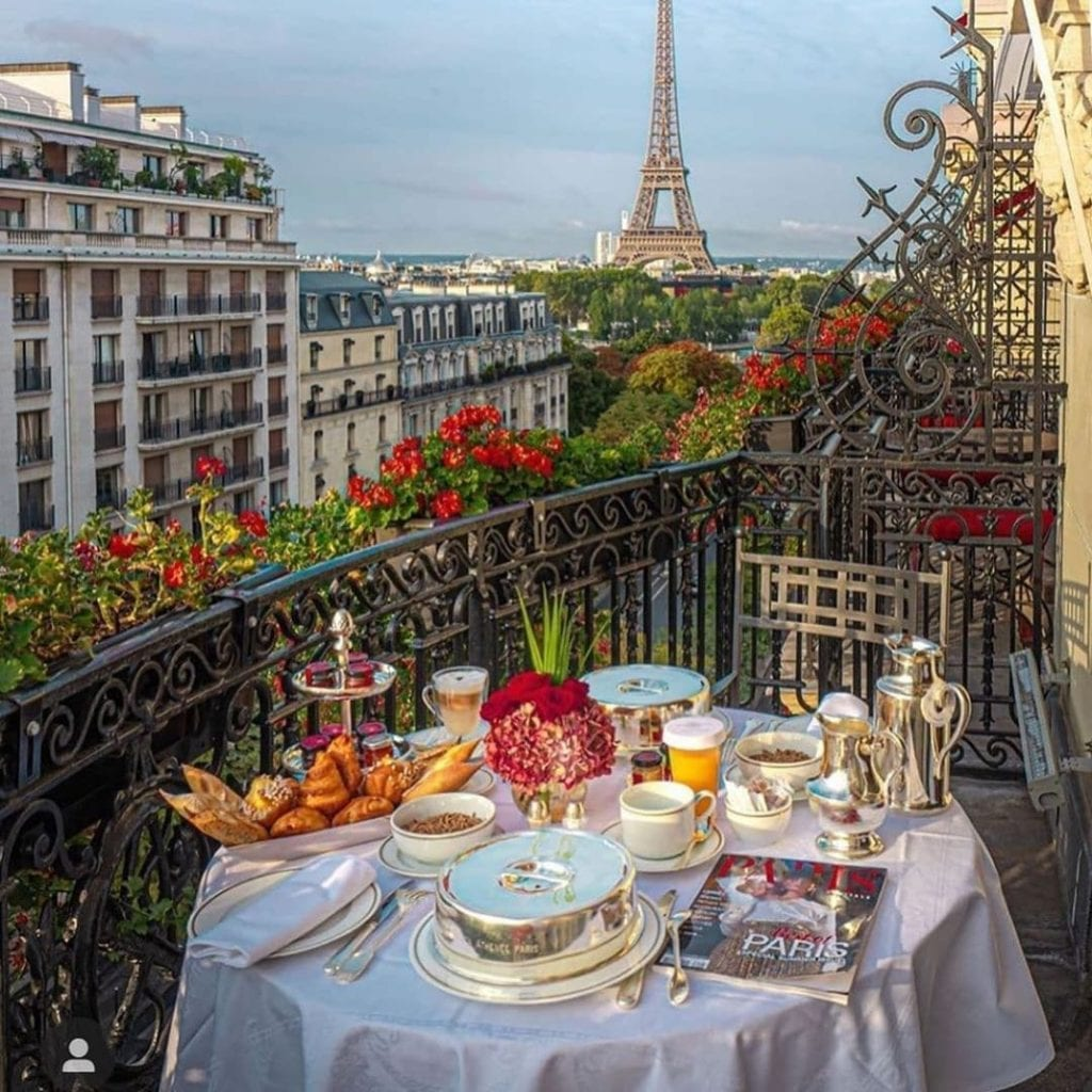 Breakfast table at the Hotel Athenee with a great view of the Eiffel Tower