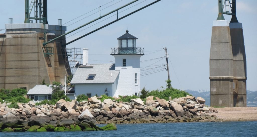 Bristol Lighthouse in Bristol, RI, an easy day trip from Boston, MA.