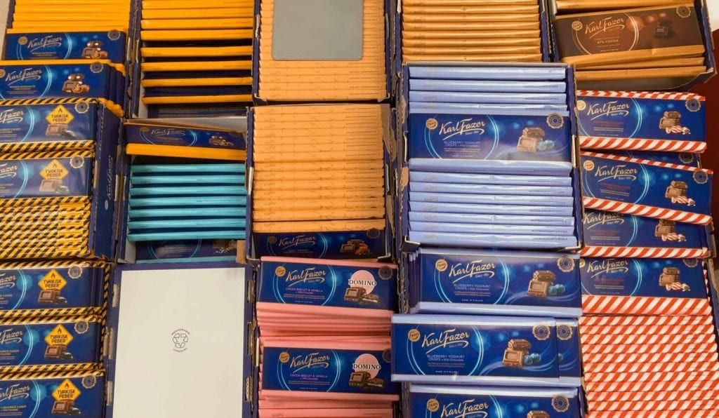 Large selection of different flavors of Fazer Finnish chocolate, a local candy.