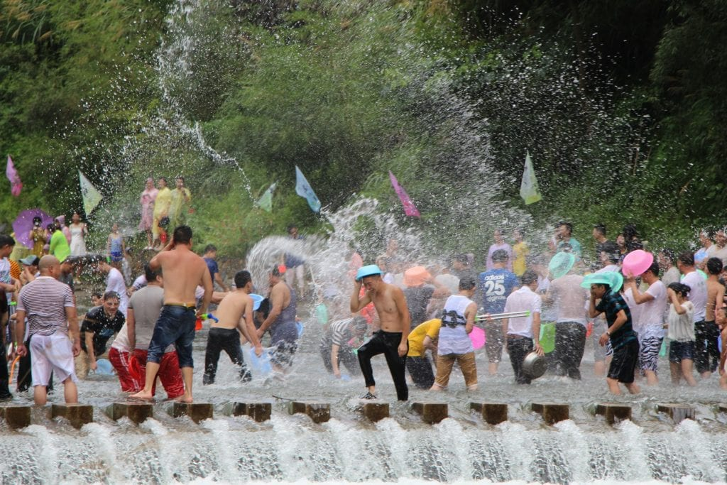 Water fight during Thailand's annual spring Songkran festival