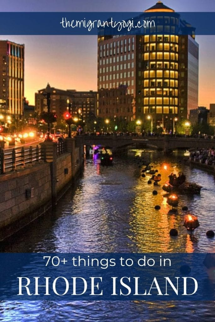 Pinterest graphic - 70+ things to do in Rhode Island with image of Waterfire in the background.