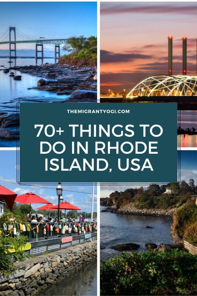 Pinterest graphic - 70+ things to do in Rhode Island with four images of Rhode Island in the background.
