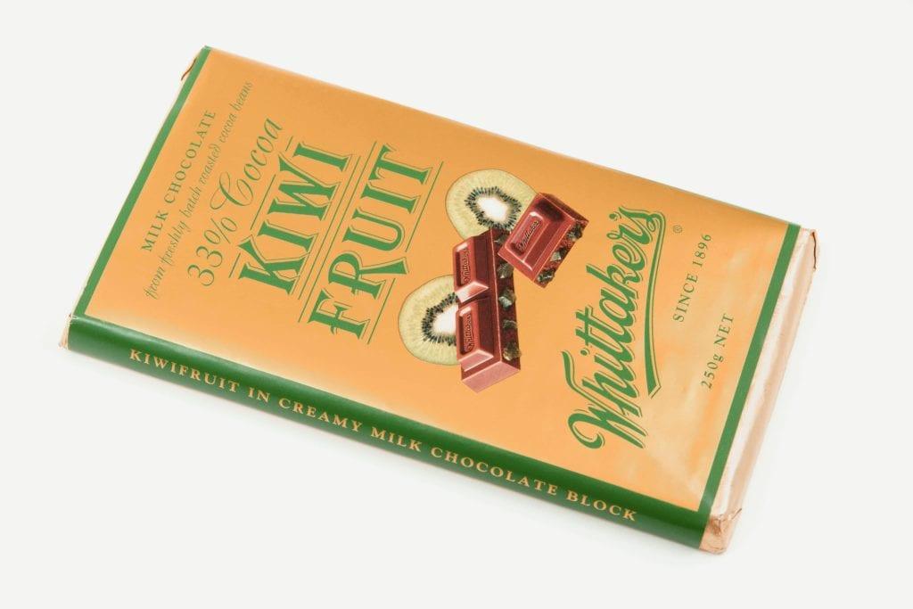 Kiwi-flavored Whittaker's New Zealand chocolate.