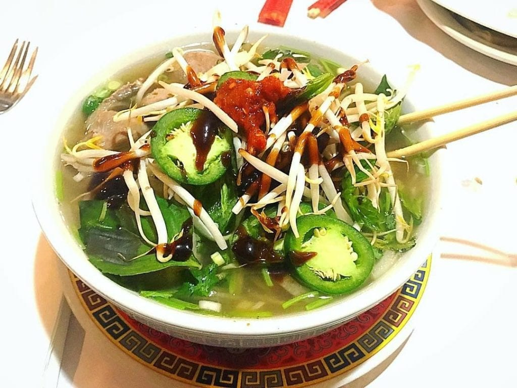 Bowl of Vietnamese noodle soup from Apsara Asian Restaurant in Providence, RI.