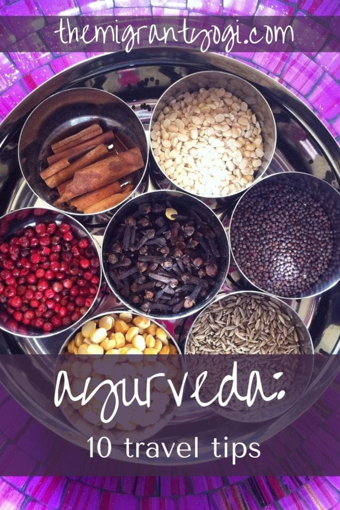 Pinterest graphic - round jars of colorful spices on a purple tiled plate with text: Ayurveda - 10 Travel Tips.