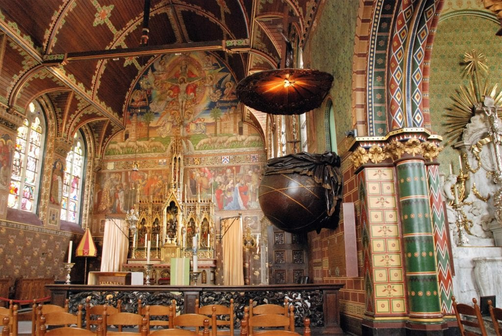 Interior of the Basilica of the Holy Blood, one of the best historic landmarks in Bruges.