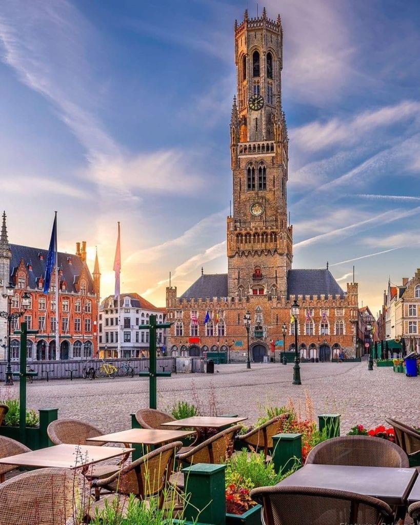 Front façade of the Bruges Belfry Tower, one of the most-visited historic landmarks in Bruges.