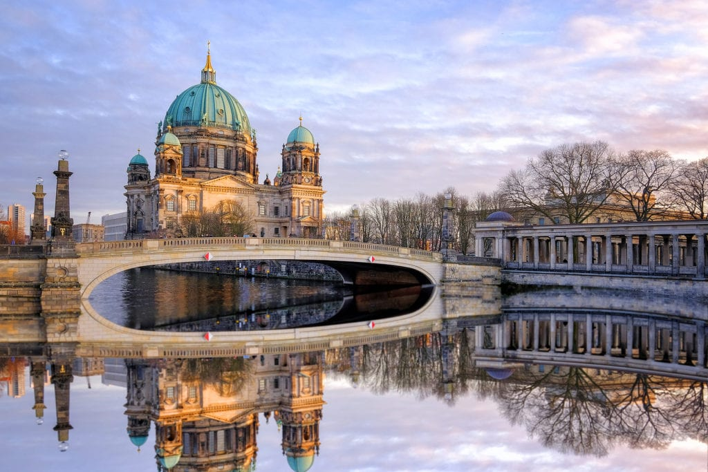 Berlin Cathedral and its reflection on the water.