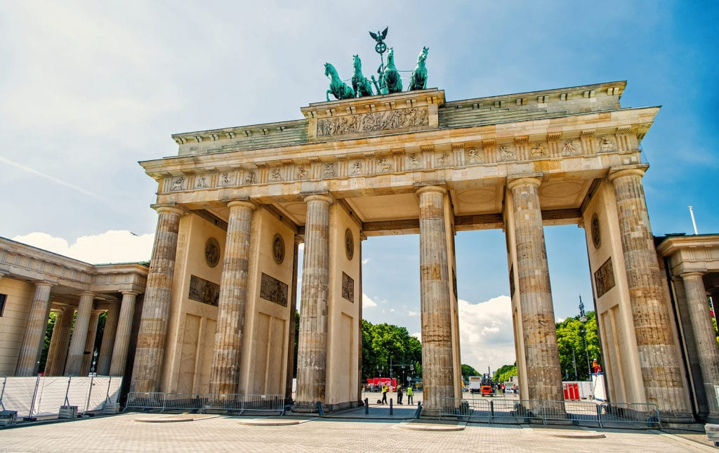 Brandenburg Gate in Berlin, Germany - a symbol of reunification of East and West Berlin.