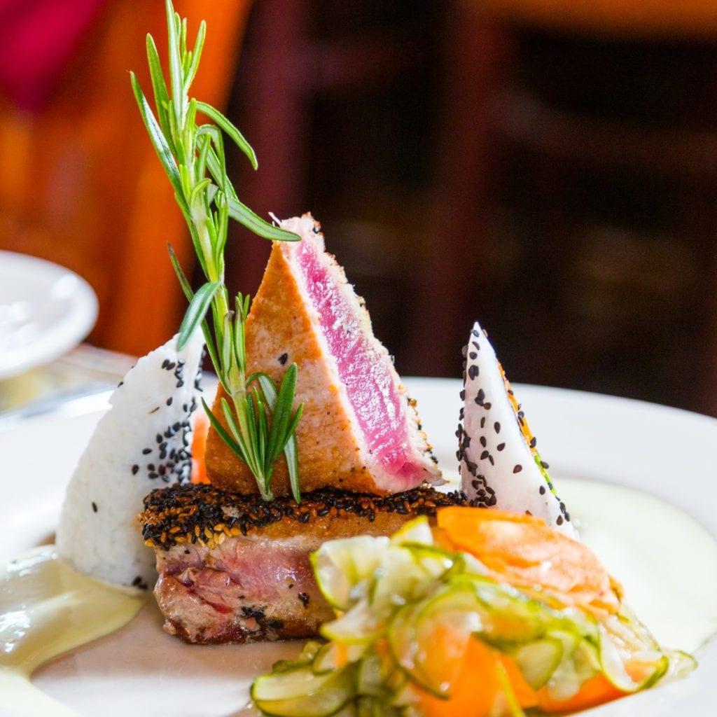 Seared rare sesame encrusted tuna from Cav, RI.