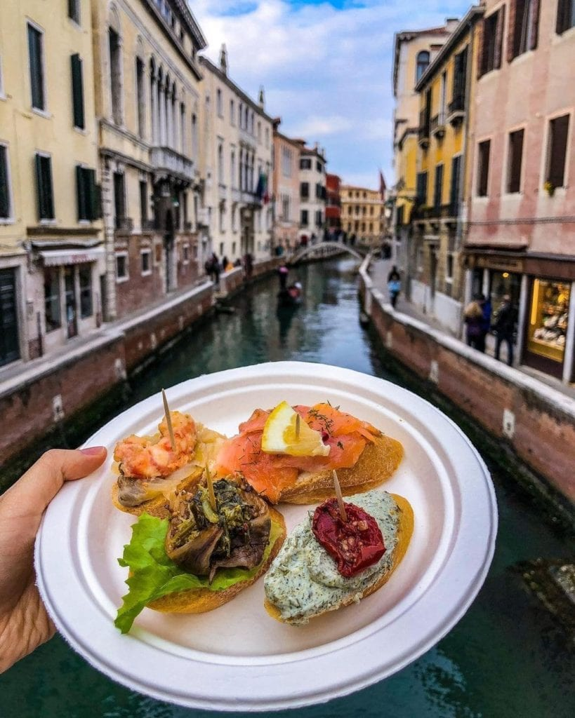 Plate of Cichetti overlooking Venice canals