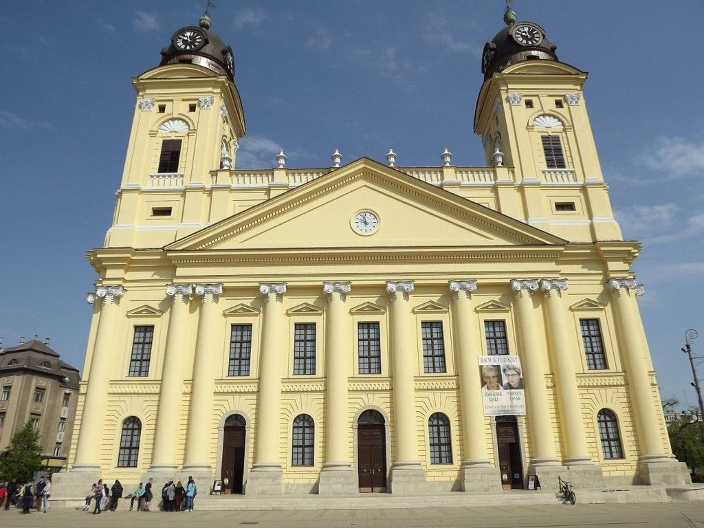 Yellow church in Debrecen, Hungary.