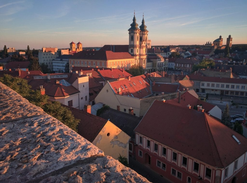 Rooftops in Eger, Hungary, one of the best day trips from Budapest.