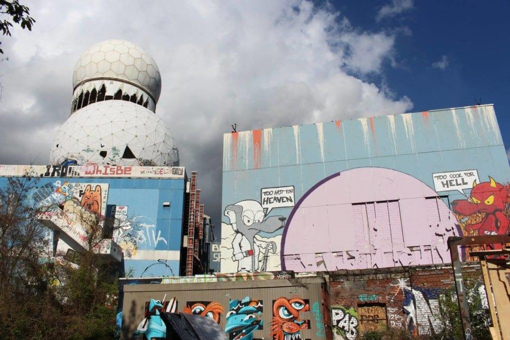 Graffiti covered Teufelsberg, abandoned NSA Spy Tower.