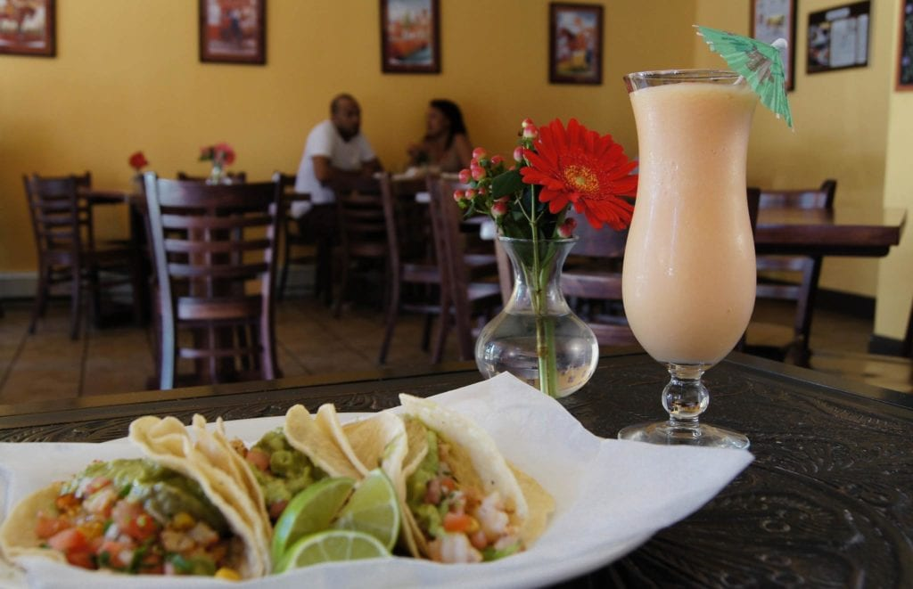 Food and drink on a table at El Rancho Grande, one of the best places to eat in RI.