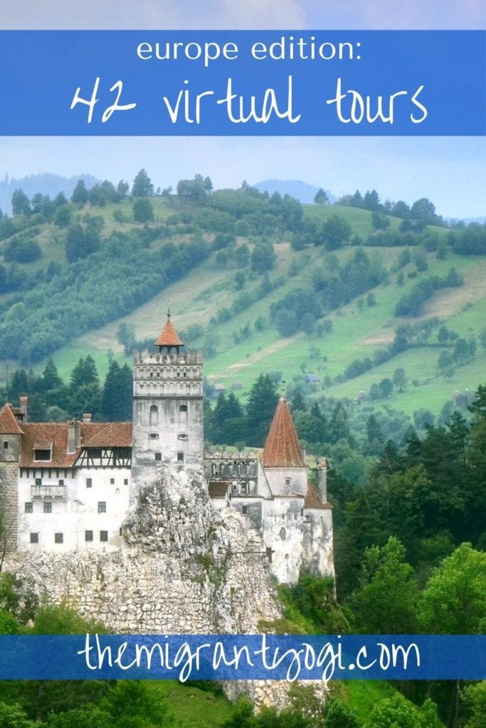 Pinterest graphic - Dracula's Castle with text: 42 Virtual Tours of Europe