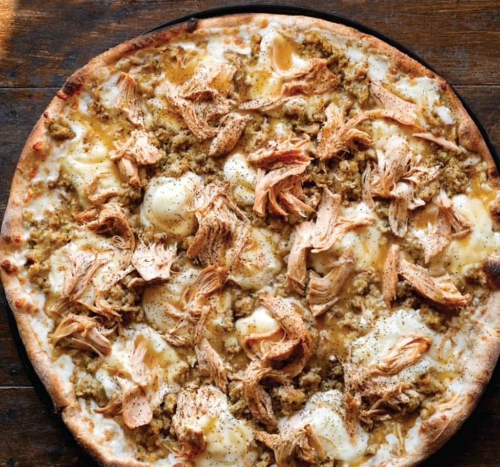 Thanksgiving pizza from Fellini's Pizzeria in Providence, RI topped with turkey, mashed potatoes, and gravy.