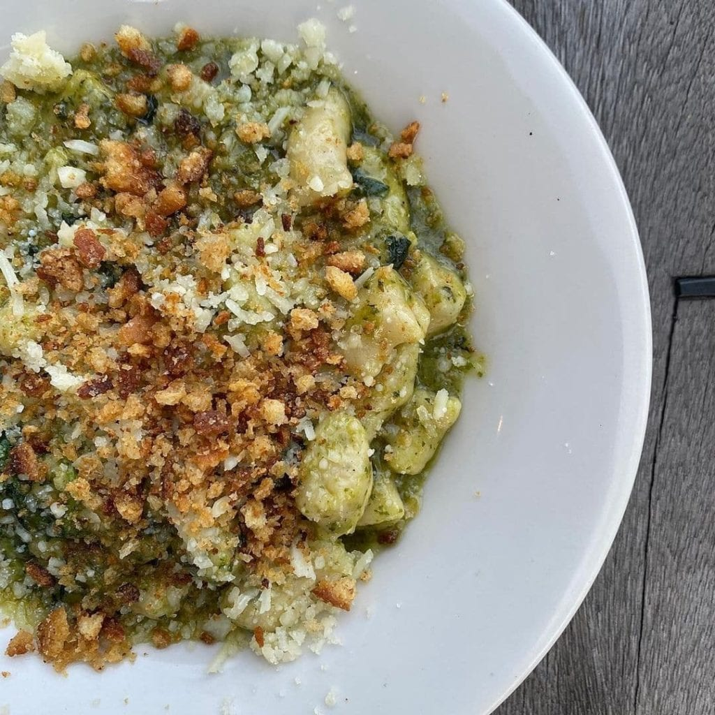 Homemade gnocchi dish with bread crumbs and pesto from Broadway Bistro, RI.
