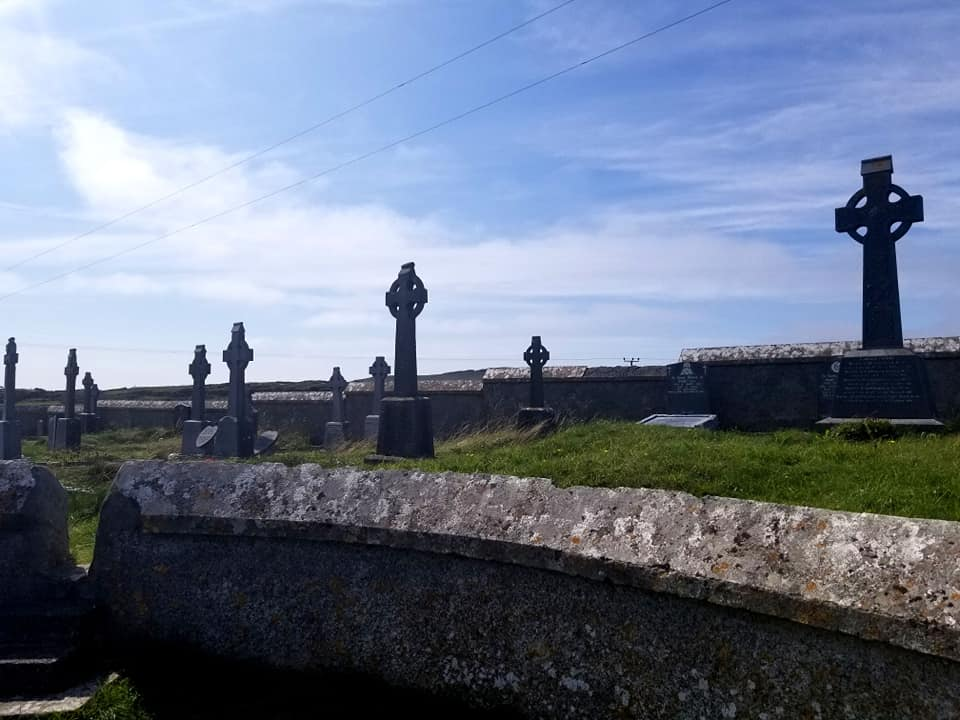 Irish crosses in a cemetery on the island of Inis Mor.