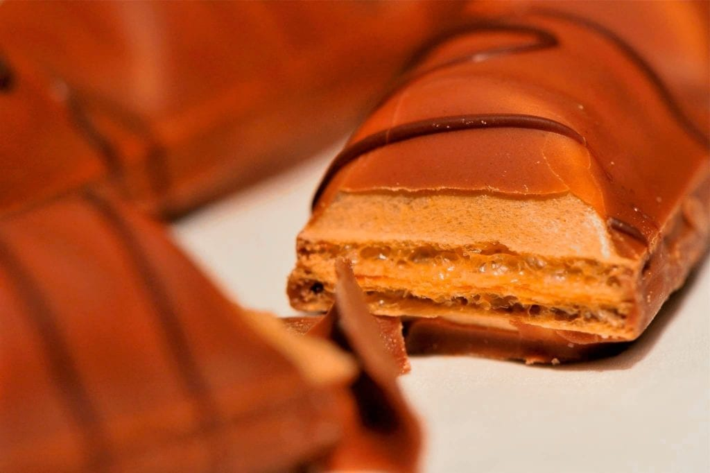Close-up of Kinder Bueno, a delicious hazelnut chocolate bar from Italy.