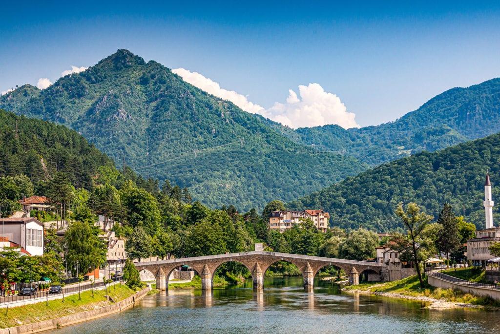Neretva River in Konjic, Bosnia and Herzegovina with iconic bridge spanning the river.