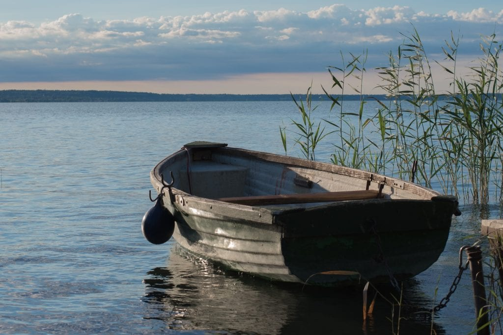 Small rowboat next to some reeds on Lake Balaton in Hungary a great day trip from Budapest.