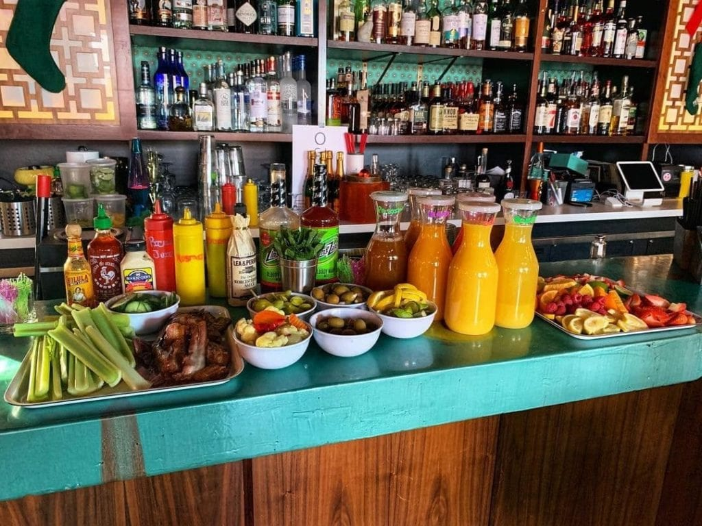 Bloody Mary and Mimosa bar at Ogie's Trailer Park in Providence, RI.