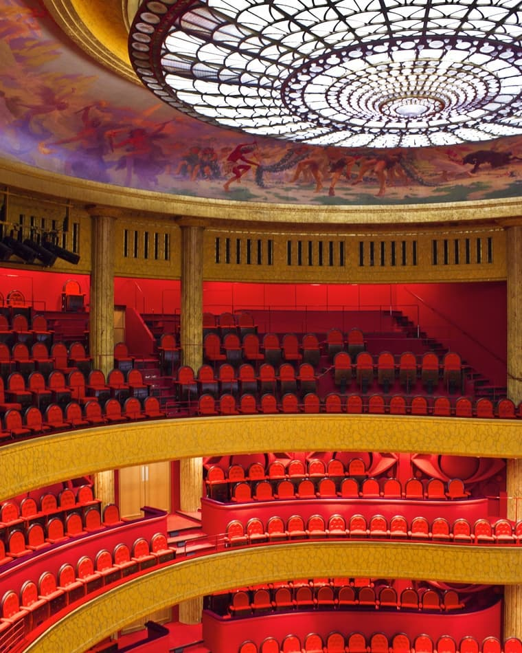 Inside of the Opera house in Reims, France with empty seats.
