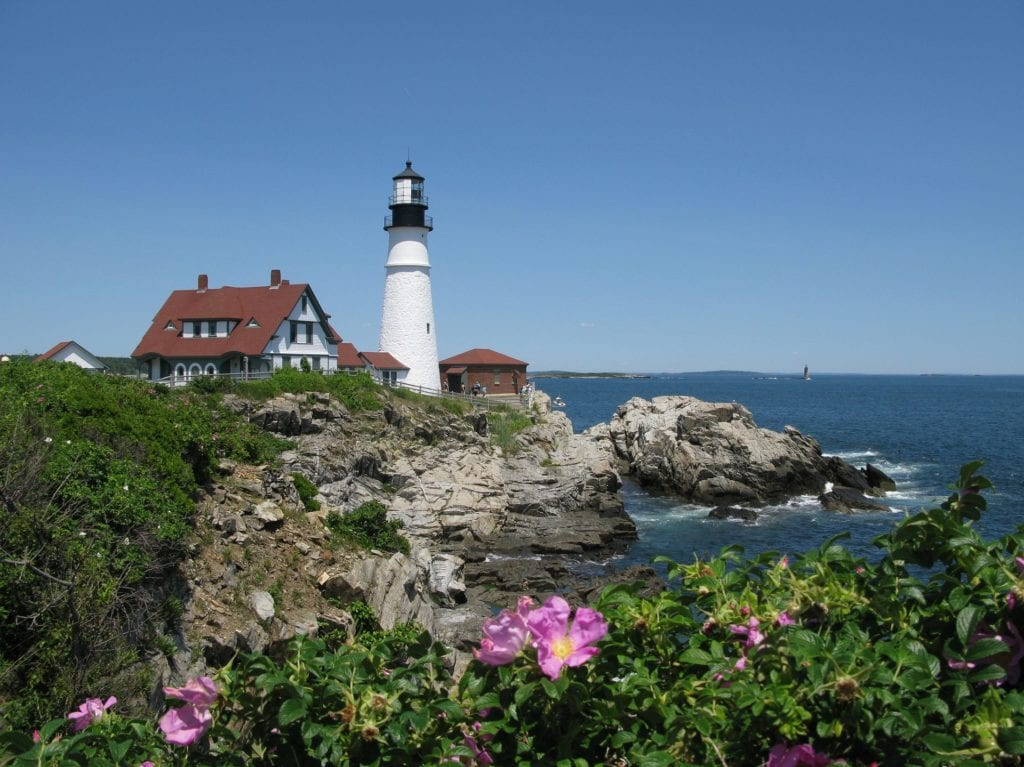 Iconic lighthouse of Portland Maine, a doable day trip from Boston.