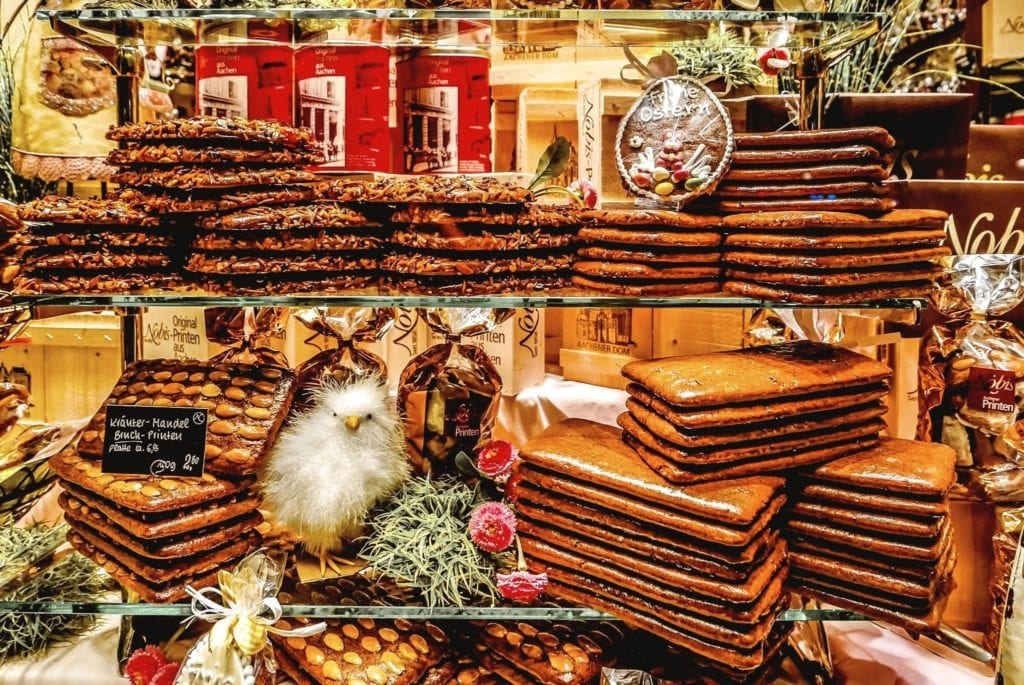 Stacks of Printen at a Christmas Market in Germany, a popular German cookie-candy made of gingerbread.