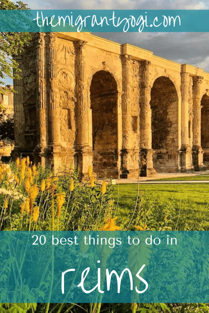 Pinterest graphic of Champe de Mars in Reims with text: 20 Things to do in Reims, France