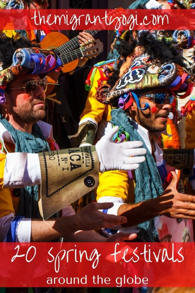 Pinterest graphic - 20 spring festivals around the globe with carnival de Cadiz image.