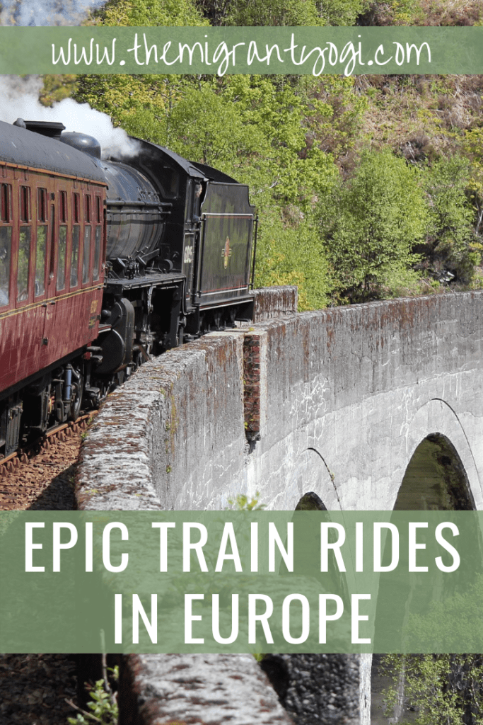 Pinterest graphic showing train traveling on mountain pass with text: Epic train rides in Europe