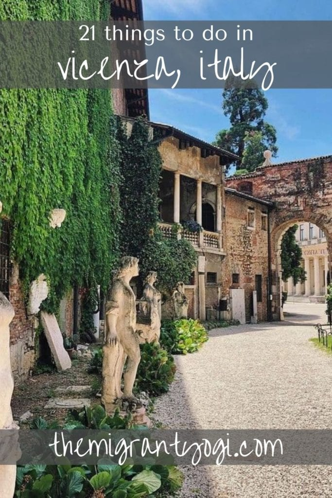Pinterest graphic of gardens at Teatro Olimpico with text: 21 things to do in Vicenza, Italy