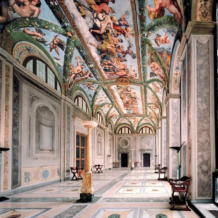 Detailed, painted ceilings of Villa Farnesina in Rome, one of the mosts Instagrammable places in Rome.