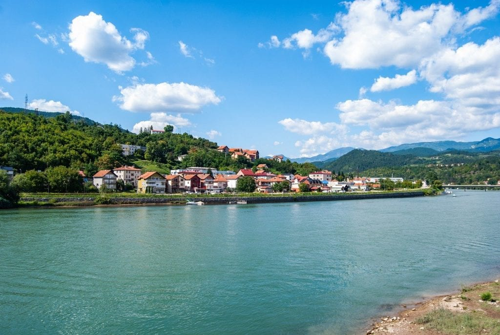 Small town of Visegrad as seen from across the river.
