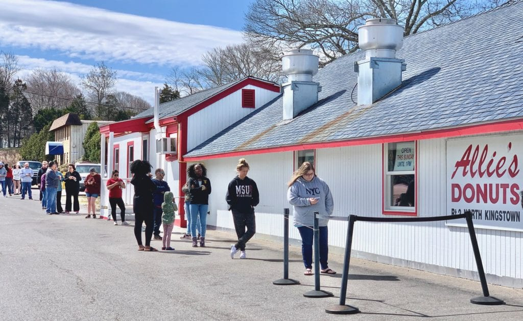People lined up outside Allie's Donuts in Rhode Island.