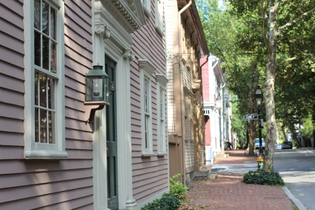 Houses along picturesque sidewalk in the historic East Side of Providence.