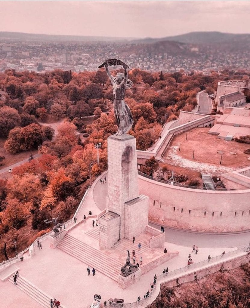 Budapest's beautiful own Statue of Liberty, on Gellert Hill with a dusty rose filter.