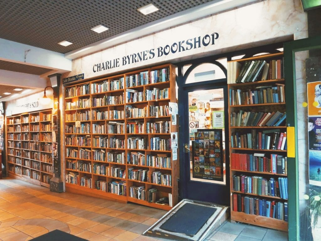 Outside of Charlie Byrne's Bookshop, one of the best free things to do in Galway City, Ireland.