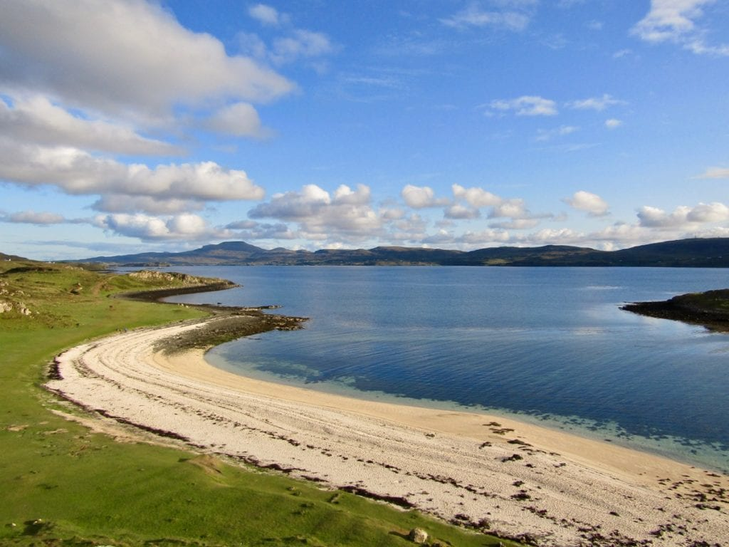 Sandy stretch of beach on the Isle of Sky in Scotland - Coral Beach